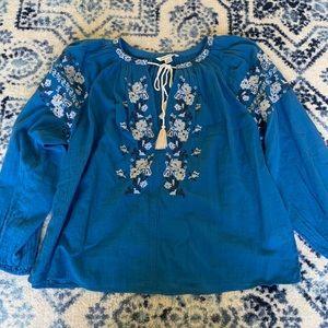 Blue long sleeve American eagle blouse